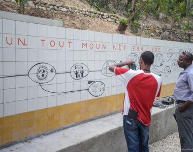 Une fresque murale sur les droits de l'homme à Martissant